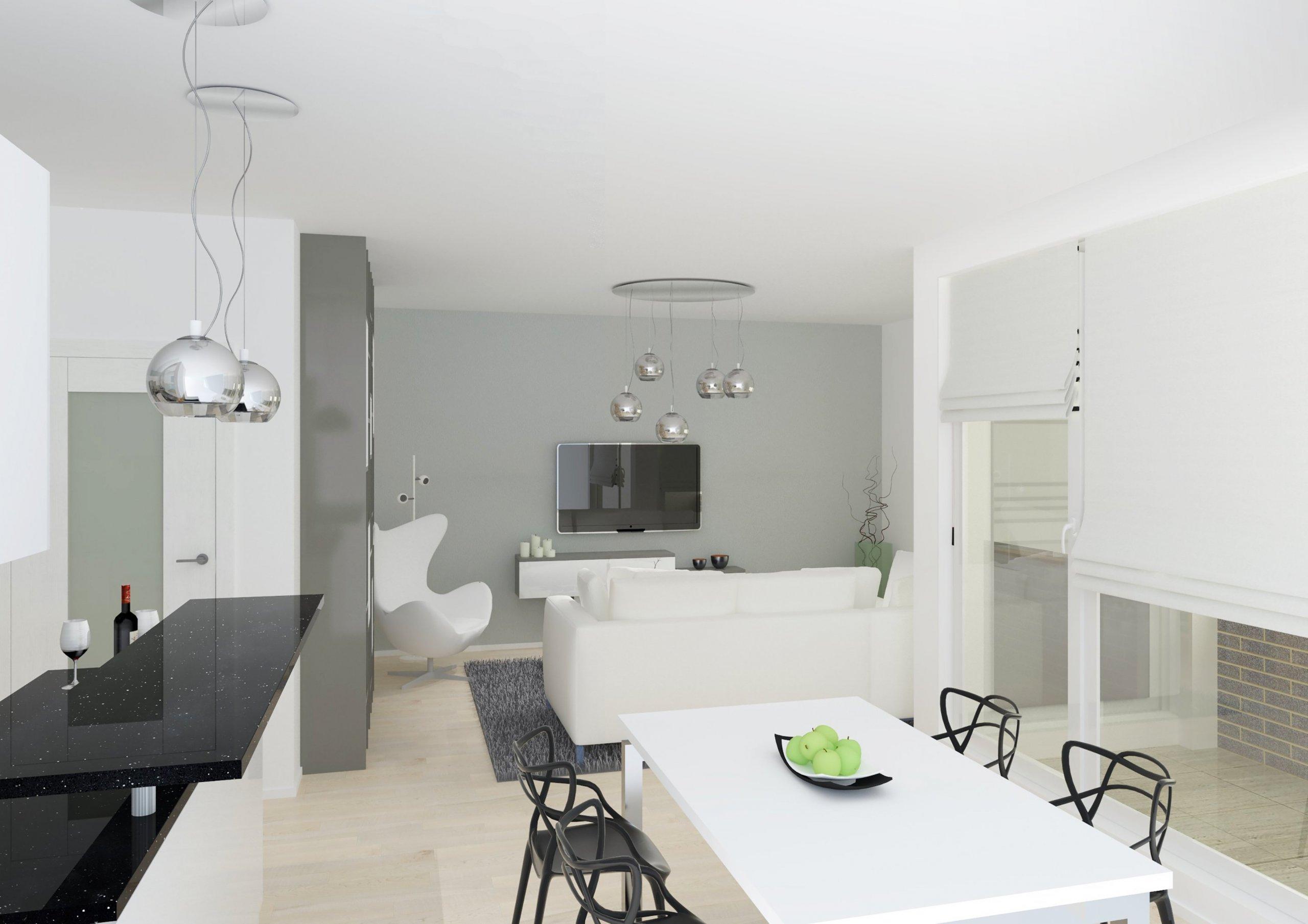 Obývací pokoj, kuchyň, koupelna