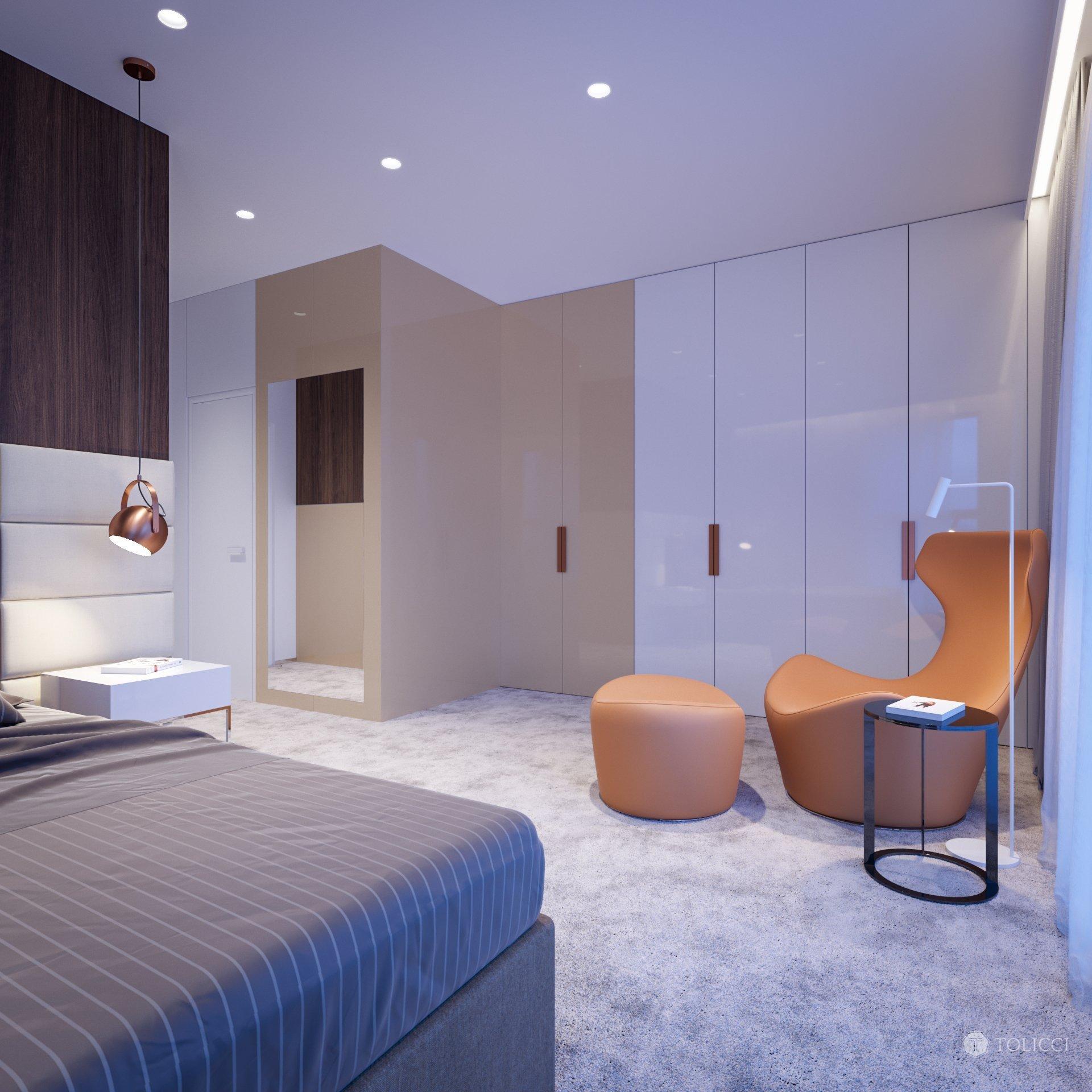 Návrh interiéru bytového apartmánu reprezentuje vytvorenie elegantného a nestarnúceho dizajnu. Vhodná kontrastná kombinácia tmavého orechového dreva a teplých…