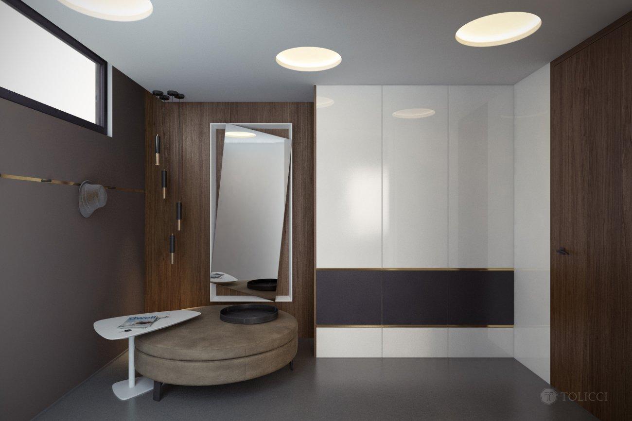 Cieľom návrhu bolo vytvorenie elegantného a jednoduchého talianskeho interiéru. Základ tvoria kontrasty drevených orechových prvkov a bielych stien na čistom…