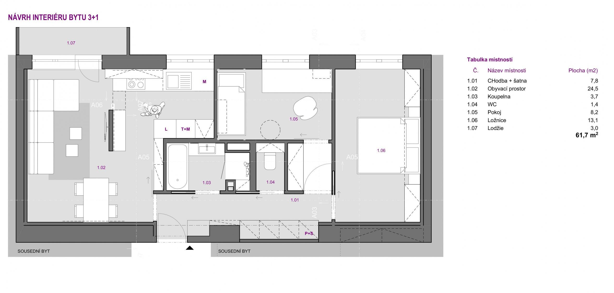 Návrh dispozice interiéru