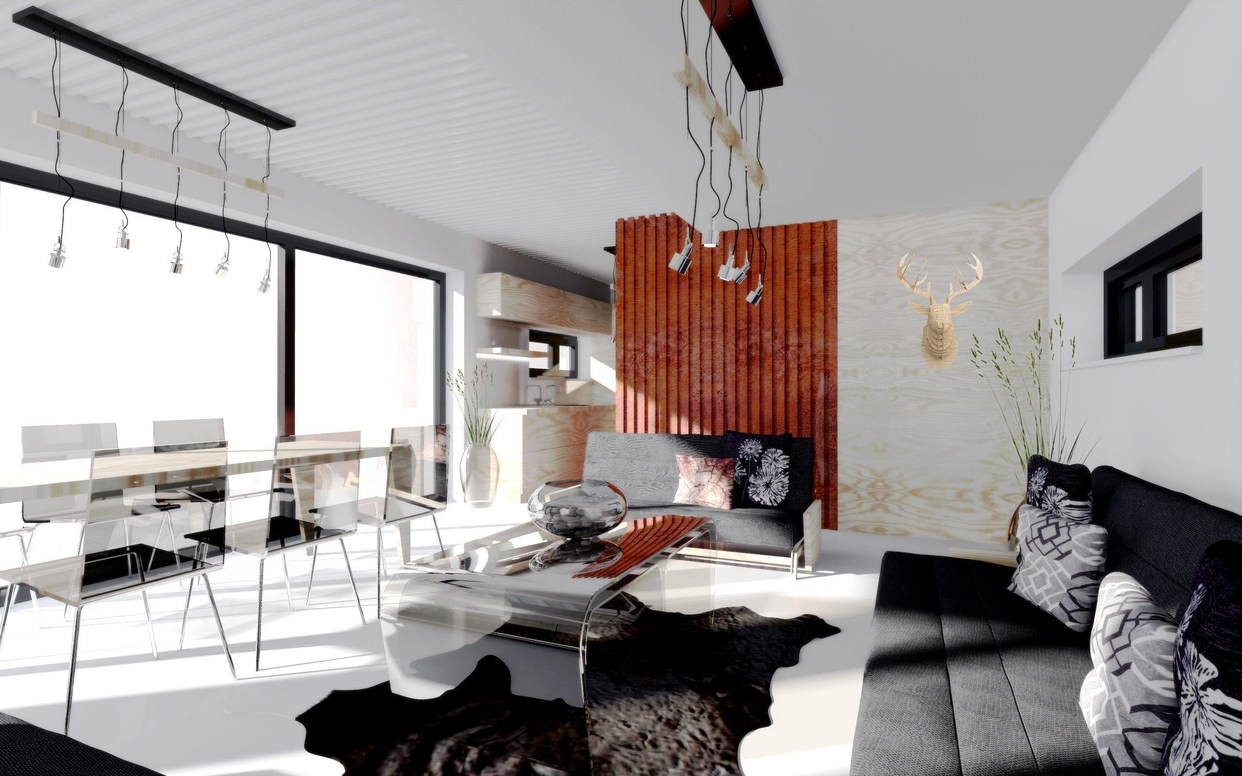 Obývací pokoj - pohled na vstupní část
