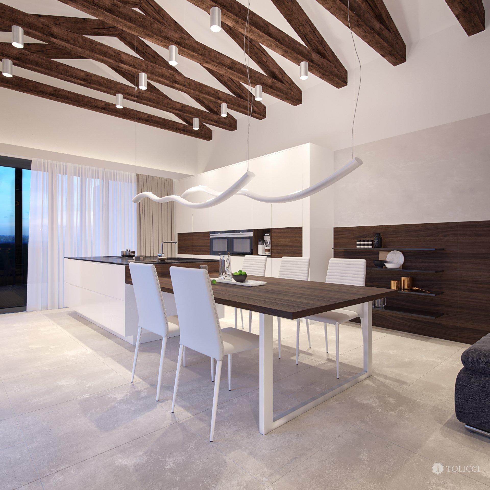 Cieľom návrhu interiéru tohto rodinného domu bolo vytvorenie elegantného a dizajnového interiéru, založeného na prirodzenom kontraste prírodných materiálov…