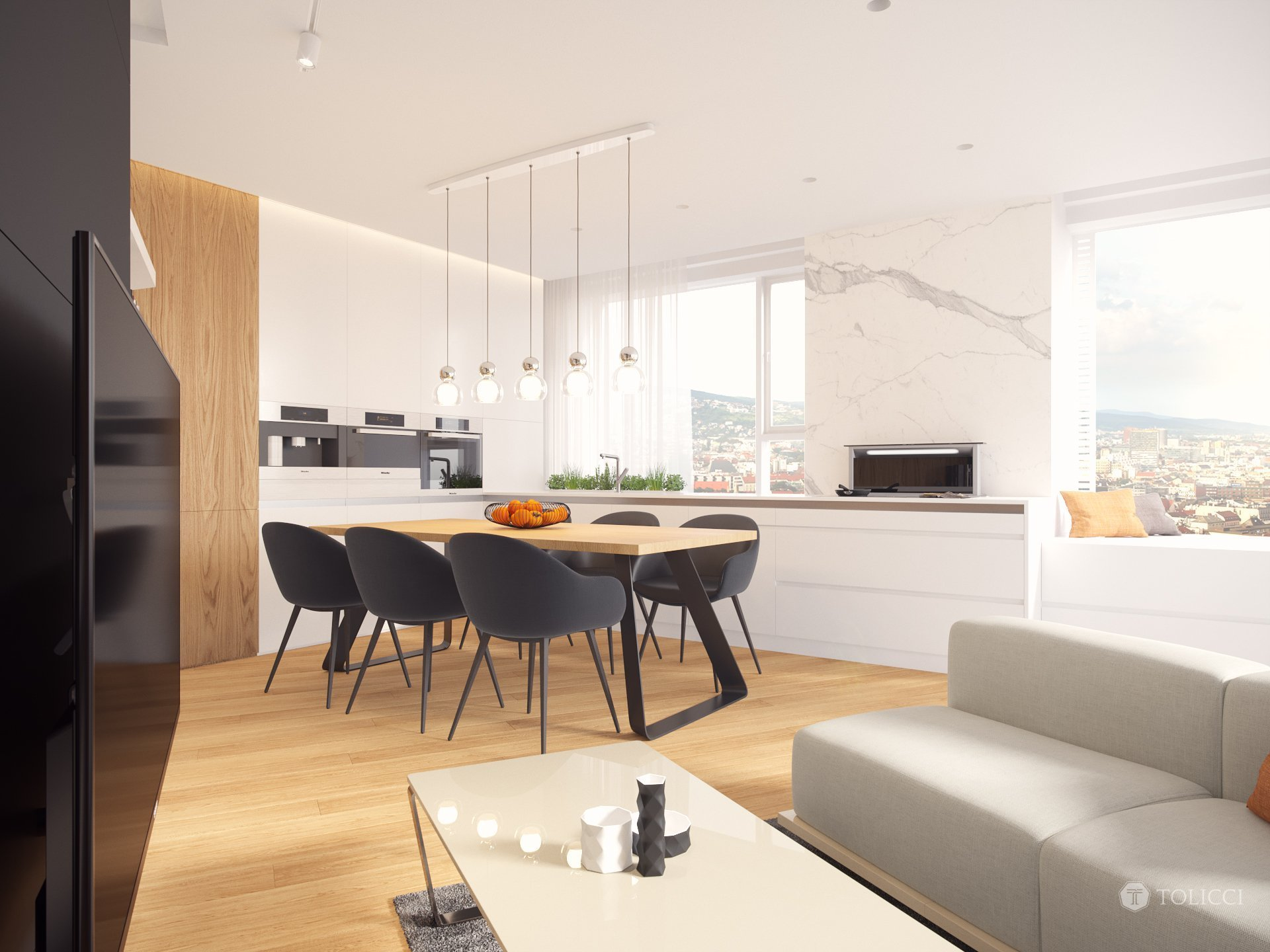 Cieľom návrhu bolo vytvorenie príjemného, moderného interiéru založeného na kontrastnej kombinácii dreveného dekóru dubovej dyhy a monochromatických farieb …