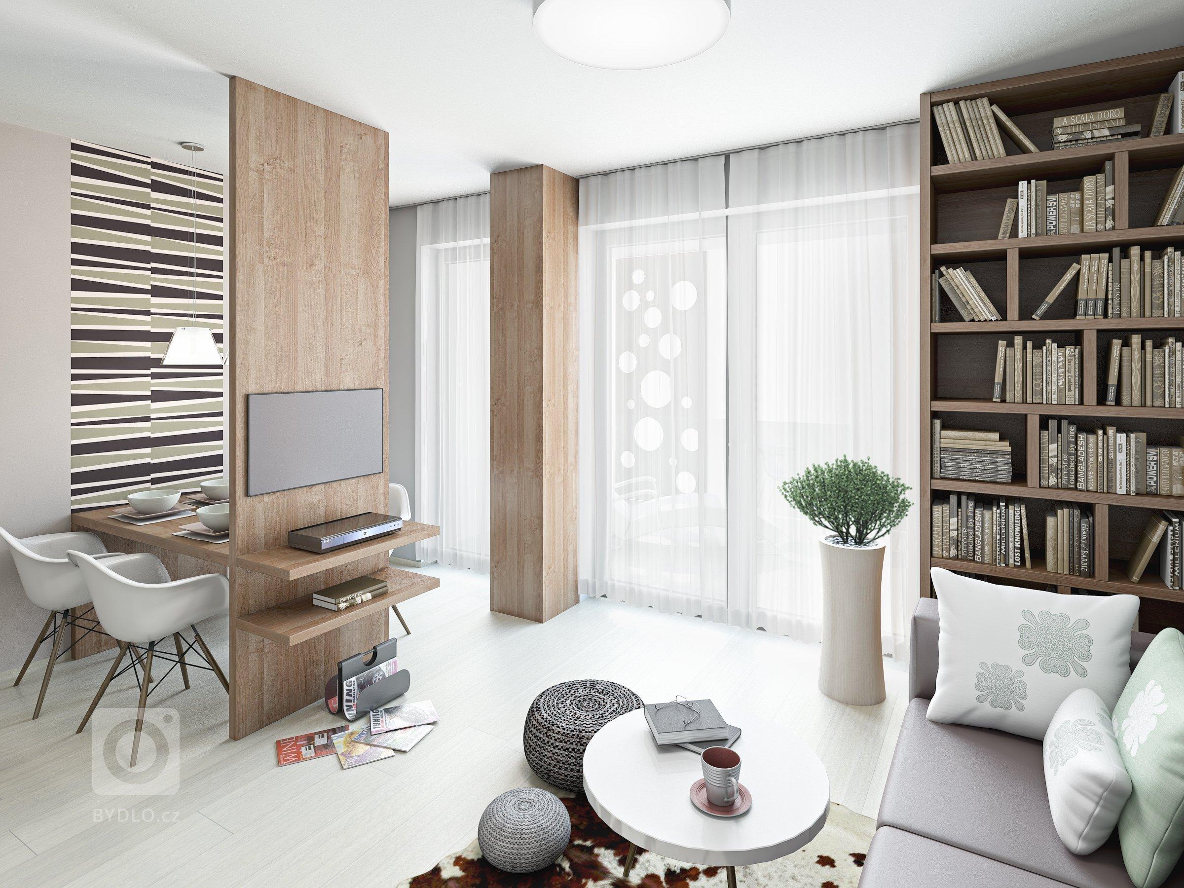 obývací pokoj s jídelnou a kuchyní