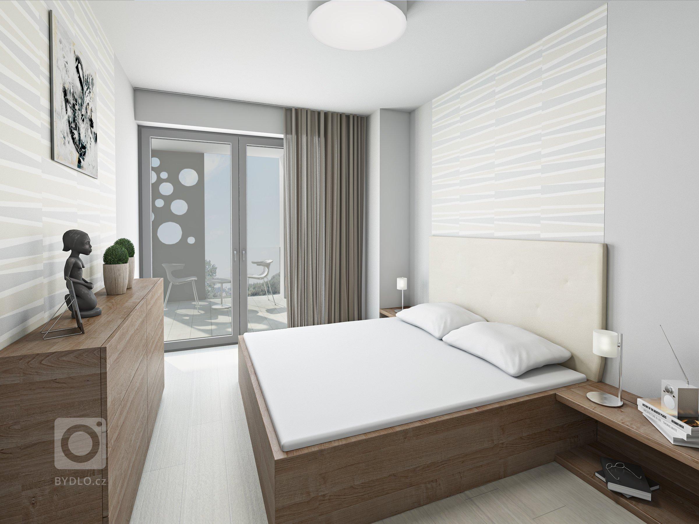 Vizualizace bytu 2+kk v připravované novostavbě bytového domu v Kroměříži. Celý byt je laděný do přírodních tónů. Použité materiály - bílý lak v kombinaci s…