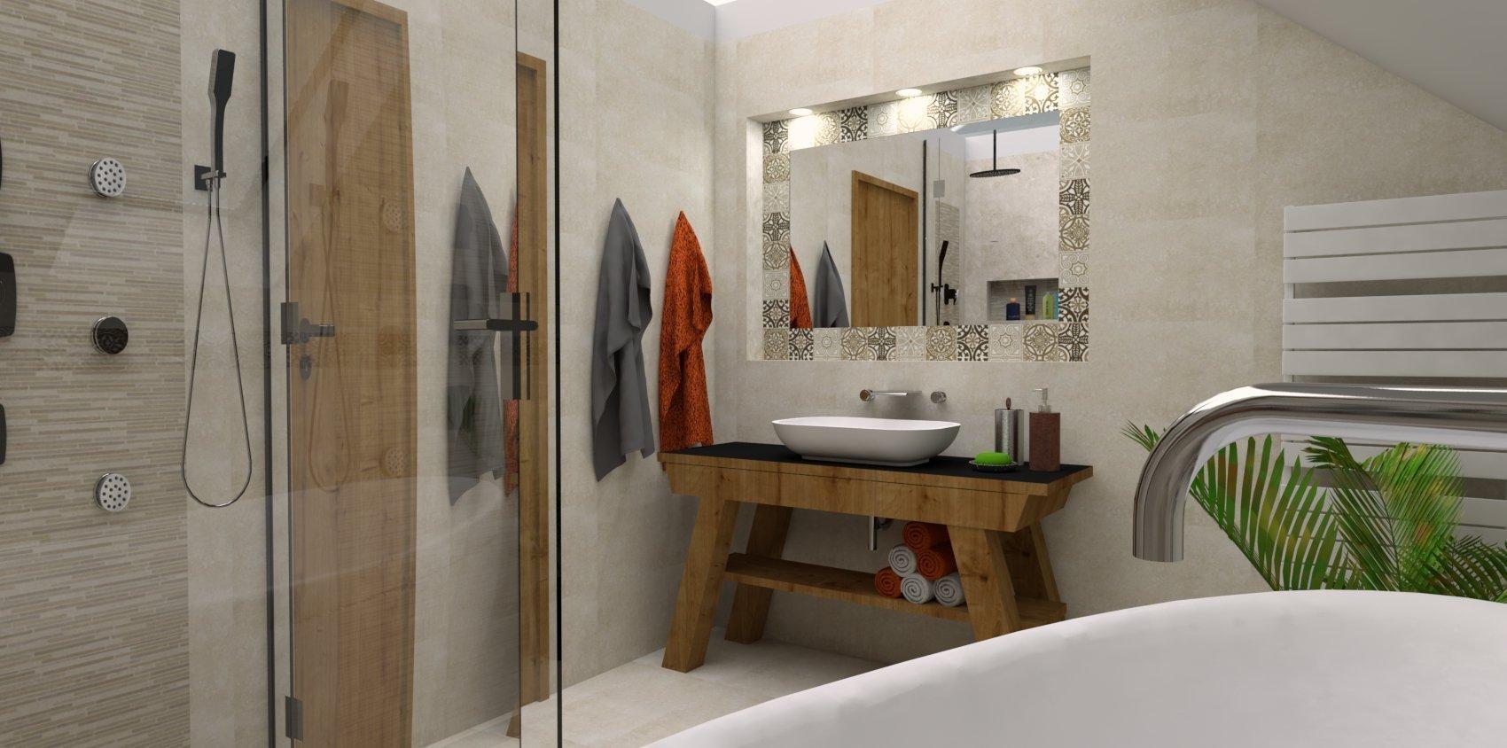 Moderní koupelna ve venkovském stavení