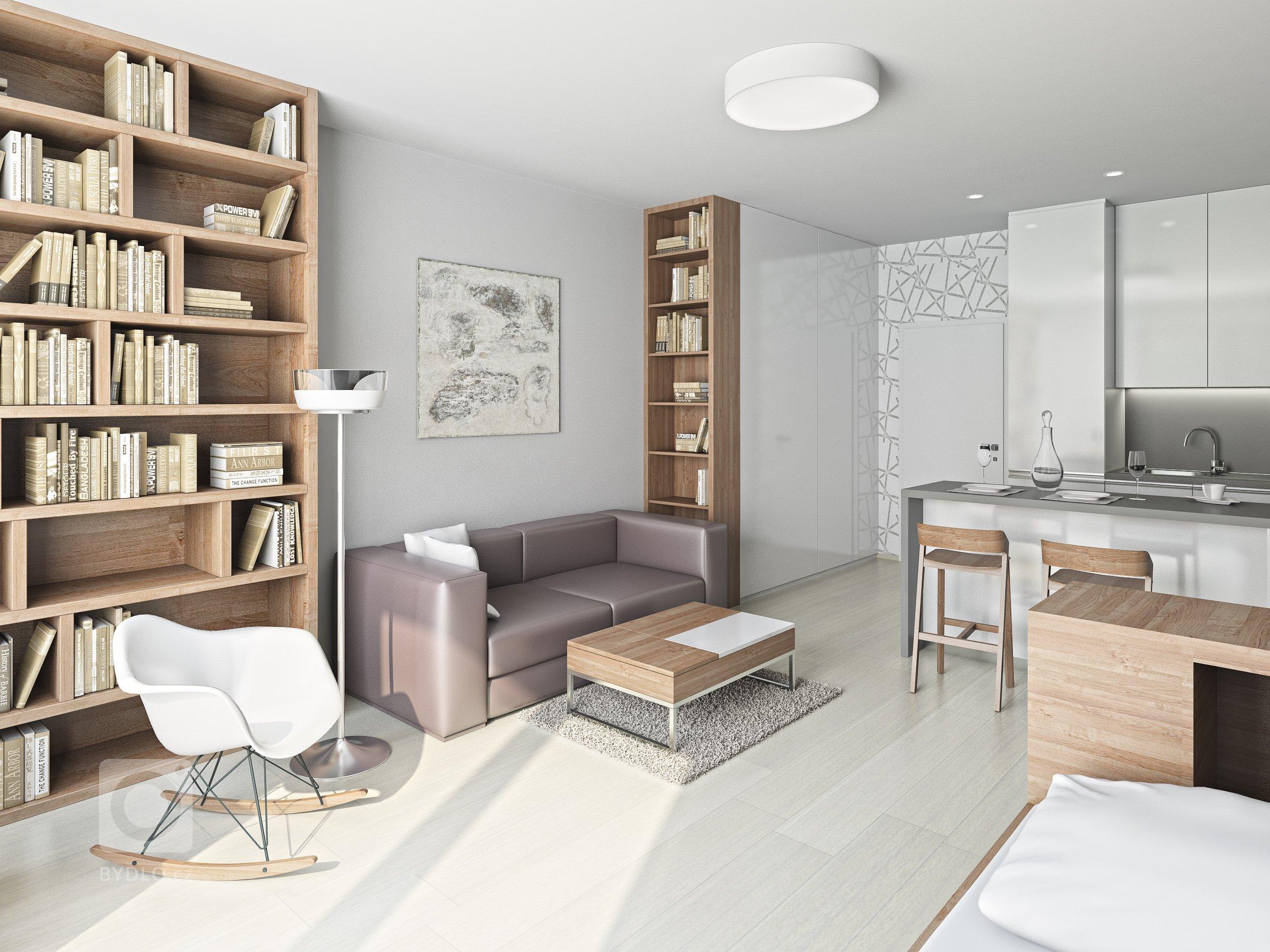 Vizualizace bytu 1+kk v připravovaném bytovém domě v Kroměříži. Na minimální ploše bylo třeba vyřešit obytný prostor s kuchyní i spaním. Použité materiály -…