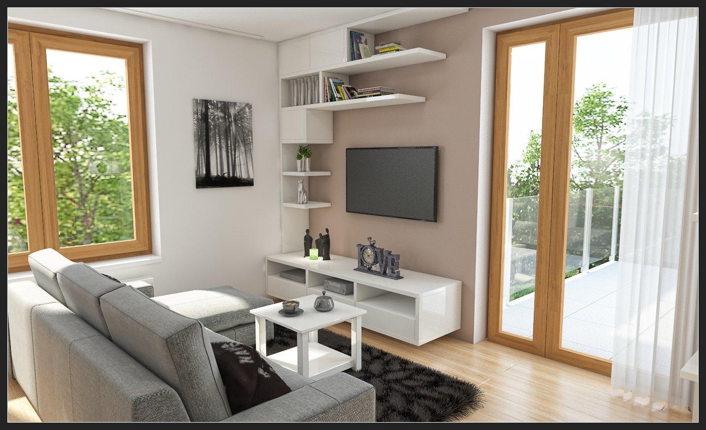 Moderní obývací pokoj s netradiční knihovnou a kuchyní s barovým pultem.