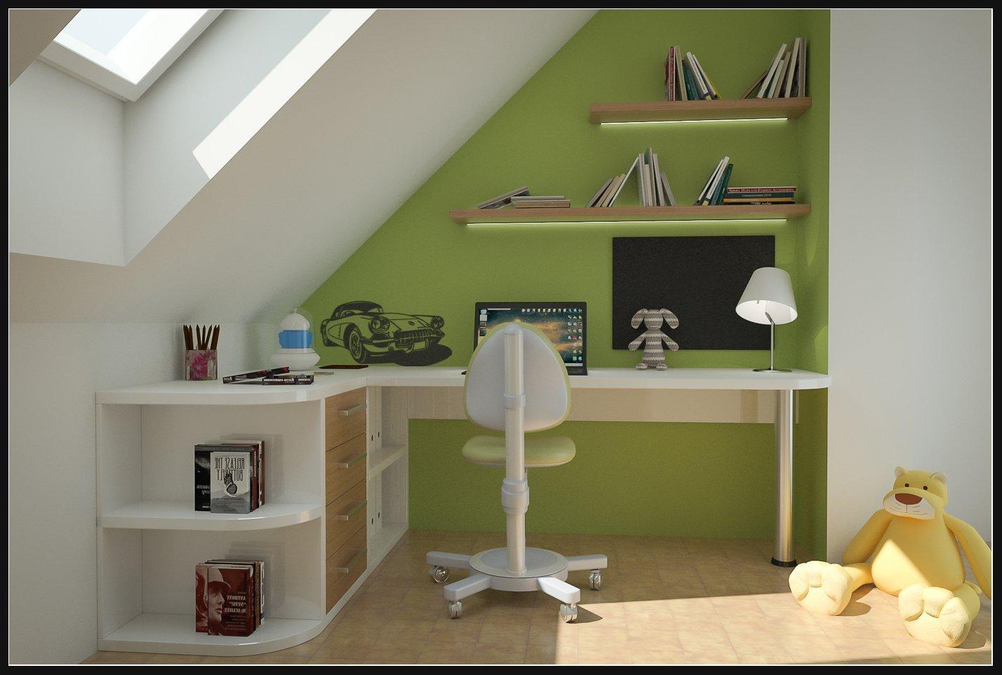 Pracovní stůl pro studenta v podkroví, v provedení bílé lamino a světlé dřevo se zelenou výmalbou.