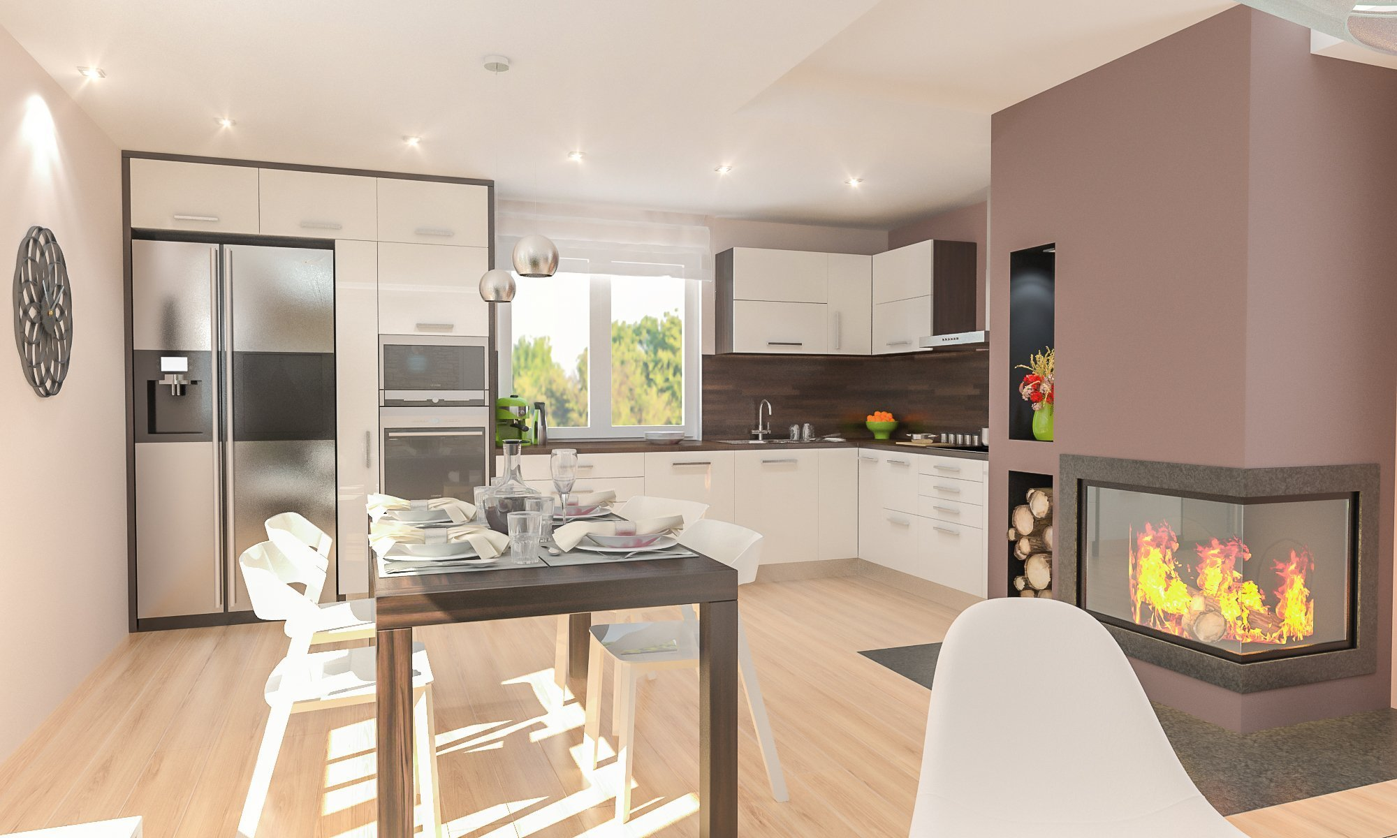 Obývací pokoj s krbem, kameným obkladem a prostornou kuchyní.