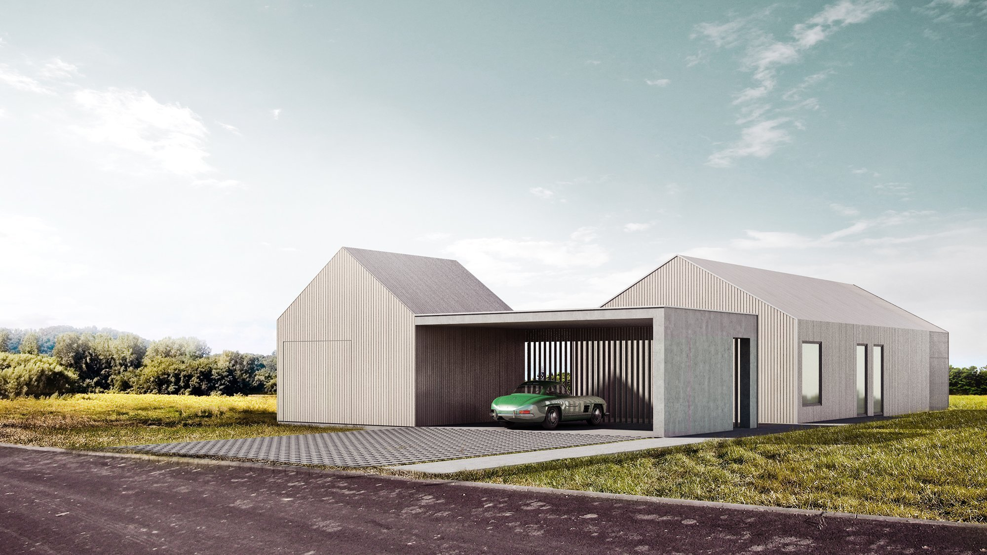 K příjezdové komunikaci je situována menší stavba s bikovou dílnou a krycím parkovacím stáním.