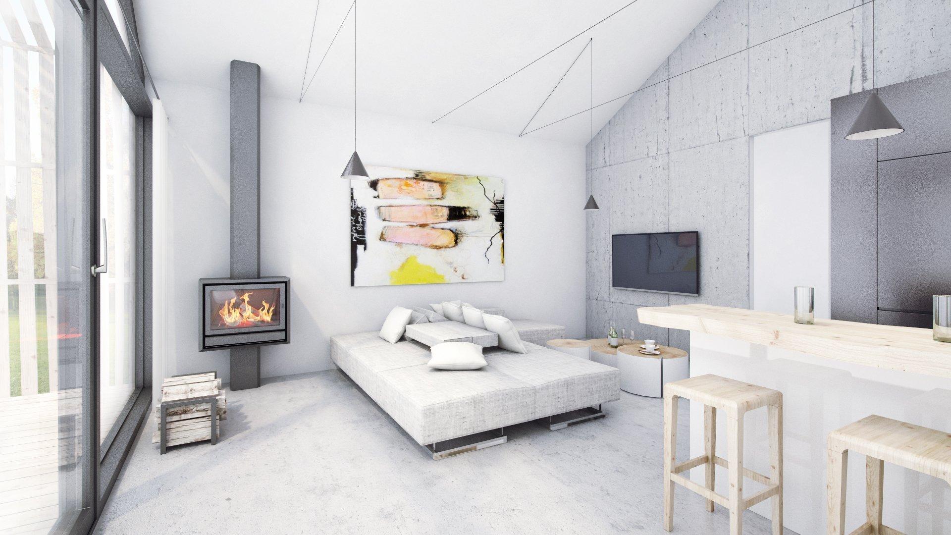 ... na zemi je navžena betonová stěrka, která je zopakovaná i na stěně za televizí...