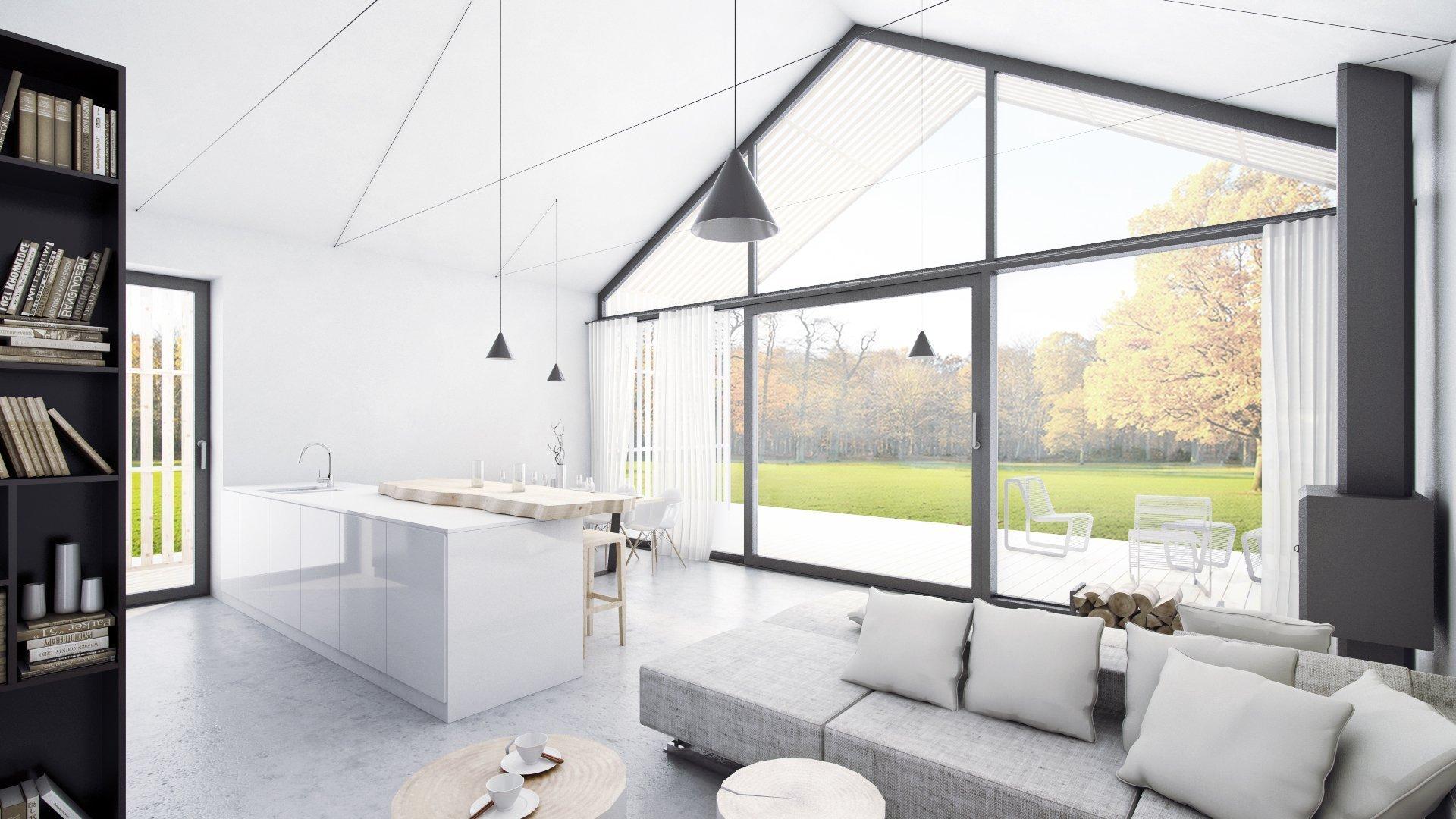 Interier je minimalistický, maximálně prosvětlený velkými plochami skel...