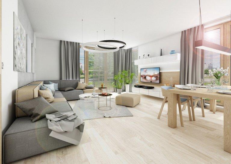 Byt o rozloze 125 m2, v posledním patře nového bytového domu. Materiál přírodního dubu a bílého laku ve vysokém lesku prostupuje celým bytem, doplňuje ho módní…