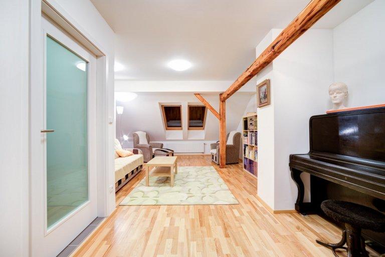 Dýhovaná podlaha a dveře do podkroví