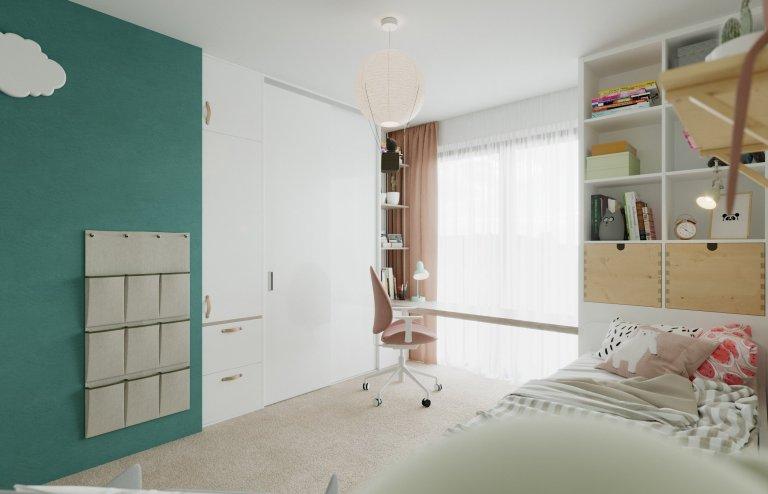 Architektonický návrh dětského pokojíčku pro čtyřletou holčičku.