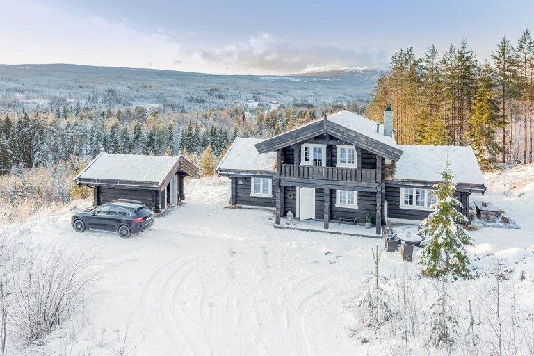 Norská chata s výhledem na lesy