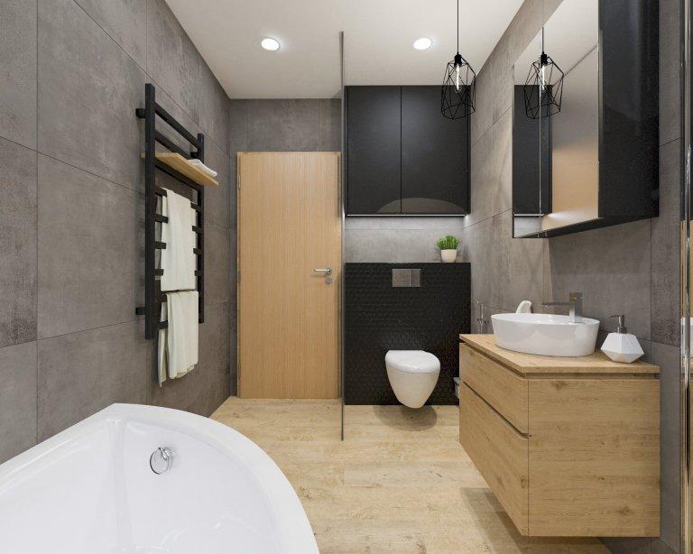 Interiér novostavby rodinného domu pro mladý manželský pár, který miluje industriální styl, kontrast a dřevo dub.