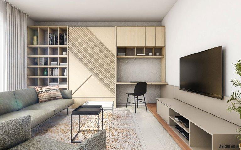 Do novostavby bytového domu v Rohožníku sme navrhli útulný a inšpiratívny interiér menšieho 2-izbového bytu. Starostlivo zvolený koncept dotvárajú premyslené materiály a povrchy. Akcent v podobe terakotovej farby sme dali na kuchyňu, ktorá tvorí ideovú dominantu prepojeného priestoru.