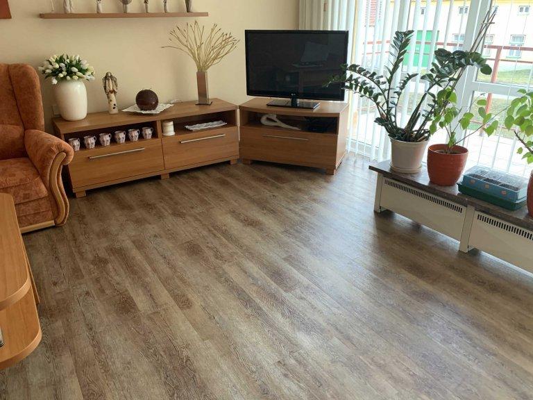 Obývací pokoj s vinylovou podlahou Dub Přírodní