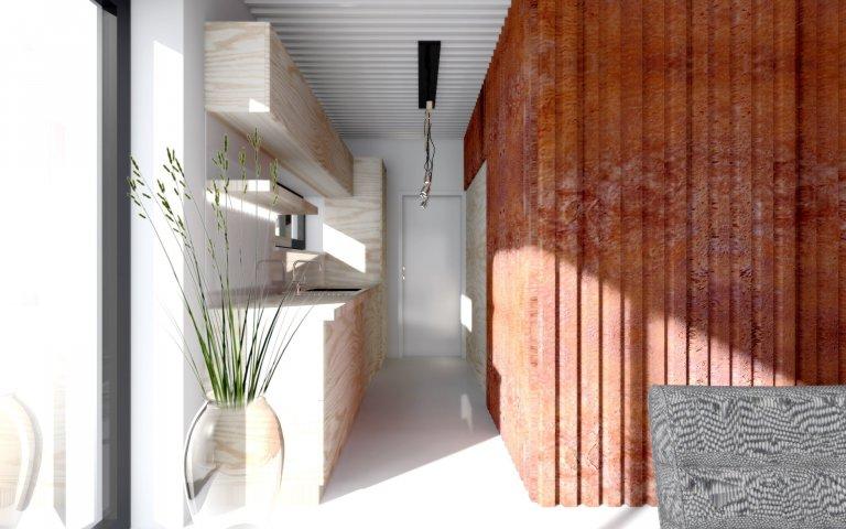Interiér chaty z lodního kontejneru