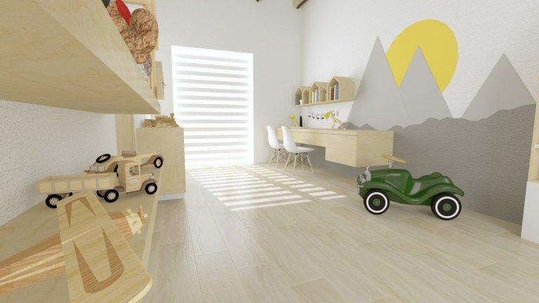 Fantazii se u nás meze nekladou, zvláště pokud jde o design dětských pokojů.A jelikož jsou tematické pokoje pro nás vždy velkým potěšením, měli jsme opět možnost použít typické designové prvky i do dětského pokoje.Jste zvědaví na výsledek?Čtěte dál. Zadání bylo jasné.Navrhnout interiérový design do podoby dětské herny.Pokoj byl krásně prostorný a slunný.Což nám poskytlo dostatek možností na co nejzajímavější řešení prostoru.