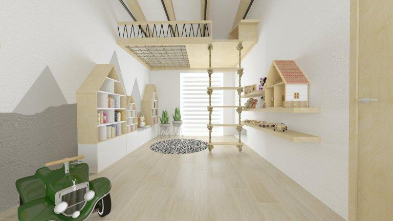 Klient si od nás přál původně návrh dětského pokojíčku, ale nakonec vznikla z prostoru pouze herna s psacími stoly.  Místnost má netradiční vysoké stropy,…