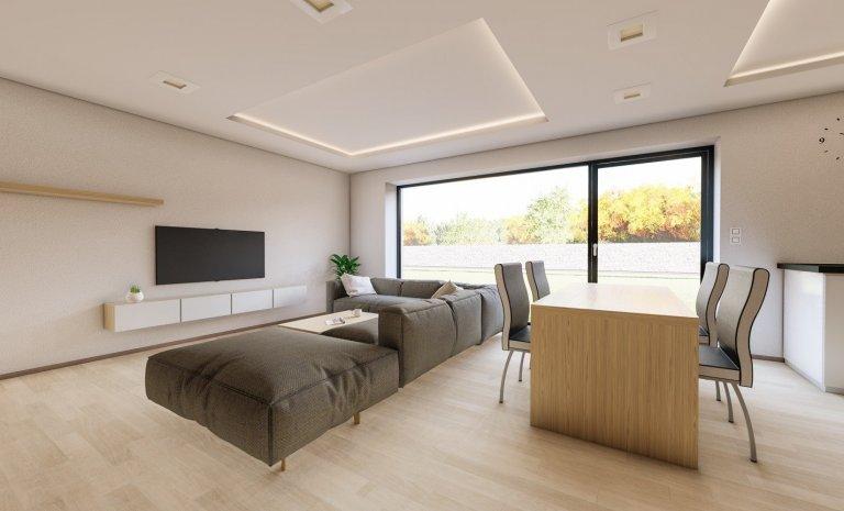 Moderní kuchyně s obývacím pokojem a krbem