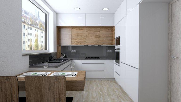 Moderní návrh kuchyně do panelákového bytu