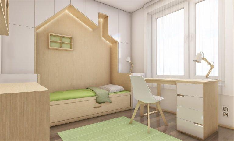 Do pokojíčku o rozměru 12 m2 jsme vytvořili dětské království. Je zde domečková postel s možností výsuvné přistýlky, psací stůl i prostorná skříň s komodou.…