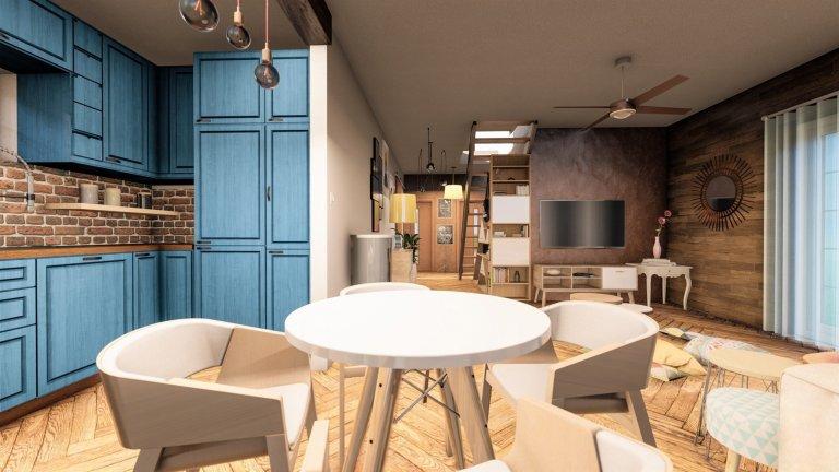 Pro klienta do novostavby jsme vytvořili vizualizaci s netradiční modrou kuchyní. Pokoj působí velmi harmonicky a útulně. Na stěnách můžeme najít keramickou…