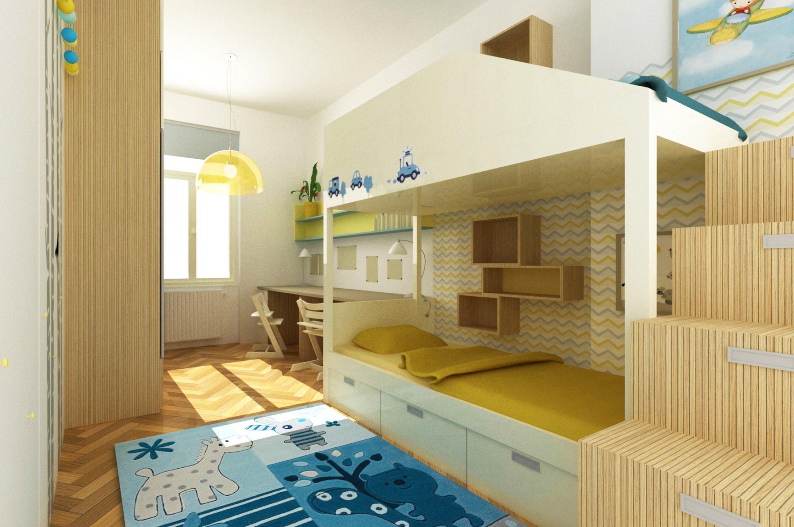 Návrh dětského pokoje v celkem úzkém prostoru, realizováno 2014.