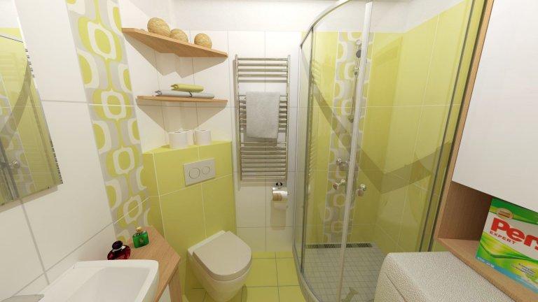Cíl a potřeby zákazníka Úkolem bylo navrhnout řešení opravdu malé koupelny panelového bytu. Cíl byl jasný, dle požadavku klienta, do malého prostoru dostat…