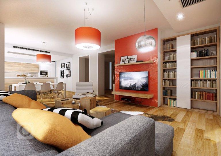 Apartmá s oranžovou stěrkou