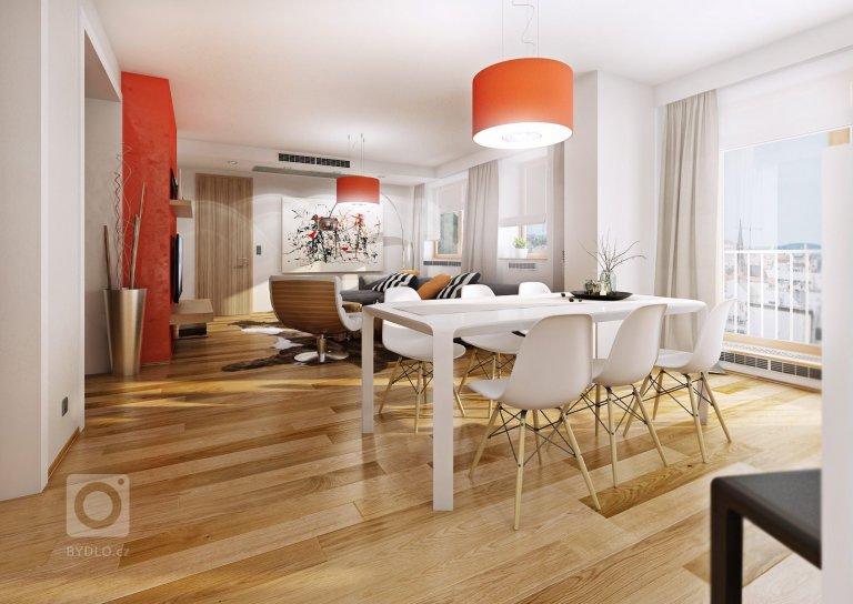 Návrh luxusního apartmánu v novém bytovém domě v Brně. Elegantní krémová a bílá barva je v kontrastu s výrazným oranžovým benátským štukem na stěně s TV a…