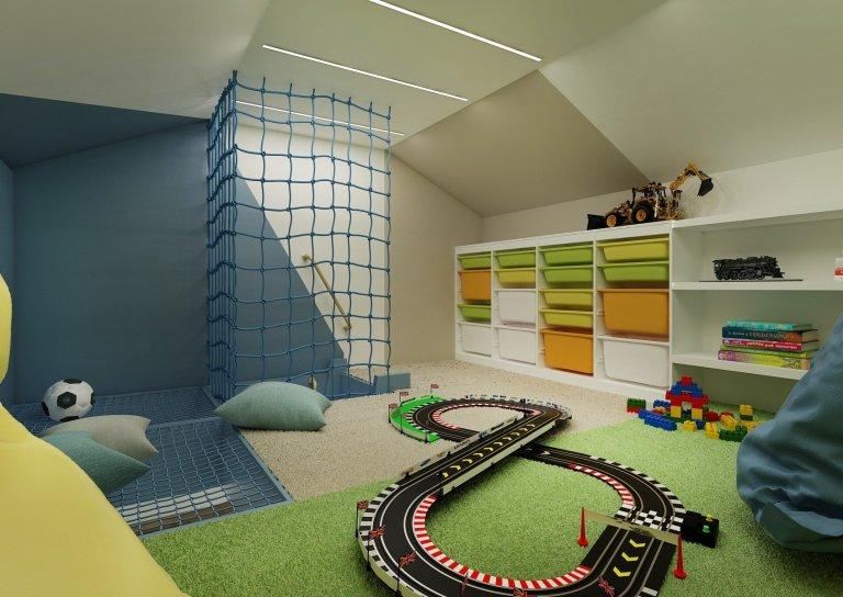 Dětský pokoj pro dva bratry jsme díky přístupu do podkroví, mohli rozdělit na dvě patra. Vpřízemí jsou postele súložným prostorem a velký společný…