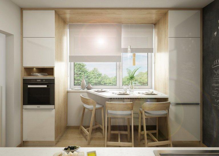 Rekonstrukce kuchyně v paneláku, návrh řešení kuchyňské linky v panelovém domě. Netradičně je místo obkladu za pracovní deskou je použita zástěna z barevného…