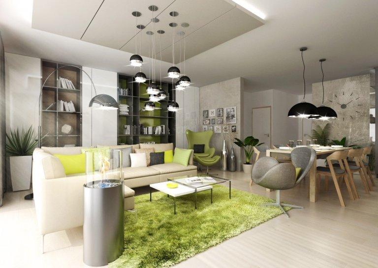 Doplňky a detaily, jako třeba lakované úchytkové profily na kuchyňské lince, ve svěže zelené barvě jsme použili pro oživení interiéru vevariantě návrhu s…