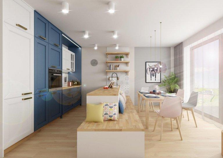 Dvě varianty návrhu kuchyně sretro kazetovými dvířky ve svěžím provedení modré, bílé a pracovních ploch zdubové spárovky. Na stěny u pracovních…