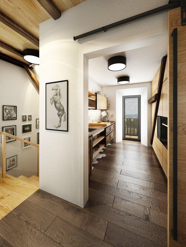 Návrh rekonstrukce půdního prostoru na privátní bydlení. V hlavní roli masivní dub, černý jekl a venkovská tématika.