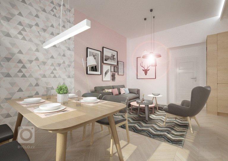 Minimalistický skandinávský design vnetradičně řešené kuchyni sjídelnou a obývacím pokojem vjednom. Podlaha parkety bělený dub, přírodní dub,…