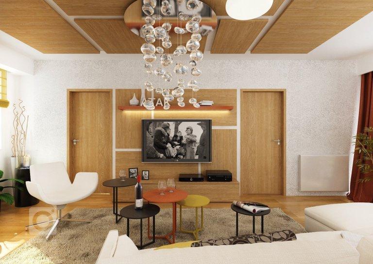 Kompletní řešení návrhu 3-pokojového bytu rodiny se dvěma dětmi. V obývacím pokoji je zajimavé použití více menších konferenčních stolků a dubového obkladu,…