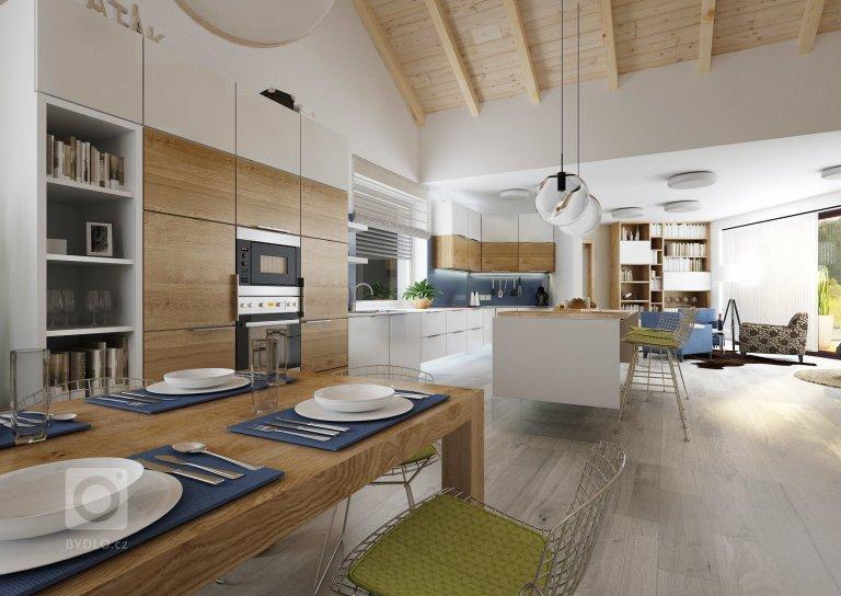Návrh velkého společného prostoru s kuchyní a obývacím pokojem. Podlaha v šedém dřevodekoru je společná pro celý dům a jednotlivé místnosti se tak více spojují…
