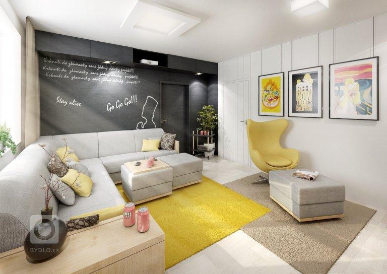 Obývací pokoj filmového fanouška ve variantách. Na běžné sledování je normální TV posazená na nábytku. Pro co nejkvalitnější filmový zážitek pak má majitel…