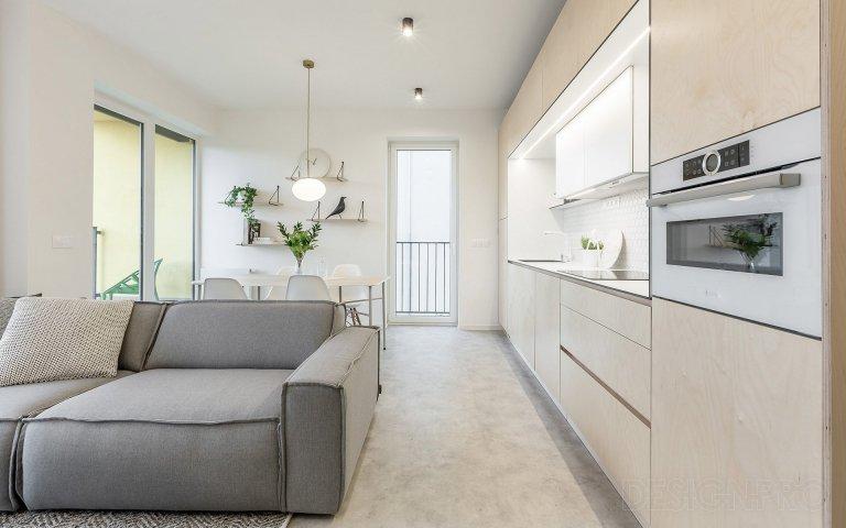 Interiér bytu v novostavbě bytového domu v pražských Hodkovičkách.Byt určený pro mladou slečnu jsme s klientkou začali řešit již v průběhu klientských…