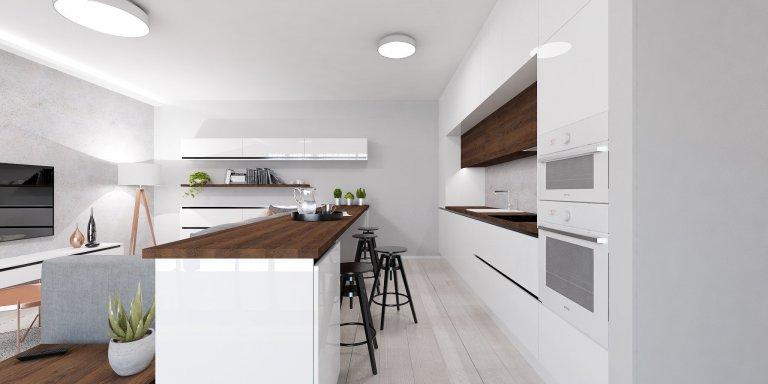 Moderný byt v Centre Bratislavy je charakteristický nadčasovým dizajnom a kontrastnými farbami ktoré dodávajú jedinečnosť v celom priestore.
