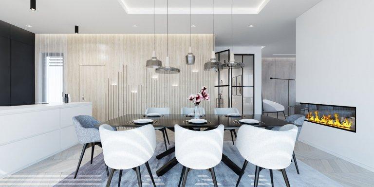 Minimalistický interiér rodinného domu,vyjadřuje touhu po volném prostoru s minimem nábytku.Čisté linie, jemné barvy, žádné vzory a jasné tvary.…