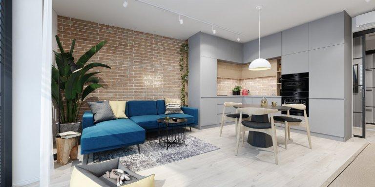 Komplexný návrh bytu, pánsky interiér s nádychom industriálu