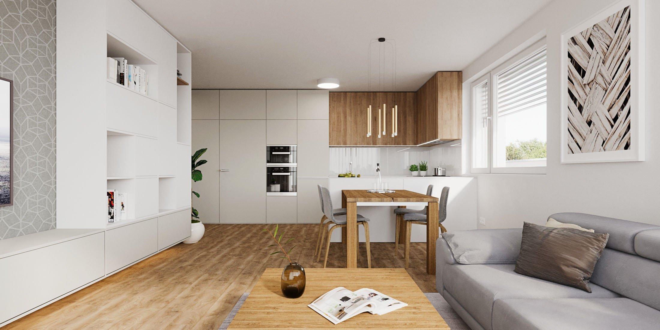 V dennej zóne dominuje drevo v kontraste s bielou pričom harmóniu farieb dopĺňa sivá tapeta a textília. Zaujímavosťou je TV Samsung Frame ktorá zároveň slúžia…