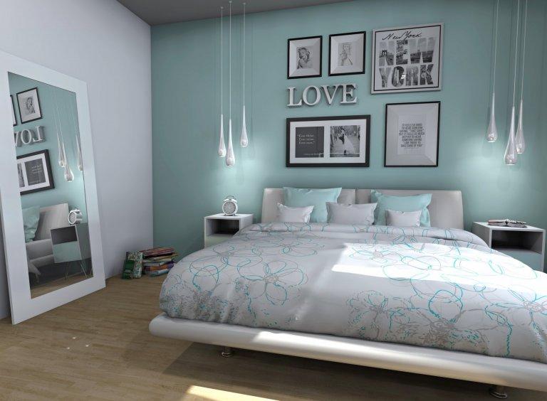 Tyrkysová ložnice